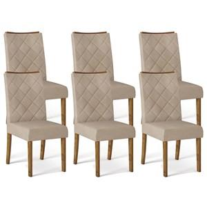 Kit 06 Cadeiras Estofadas Sara Tronco Ripado Linho Arido DJ Moveis