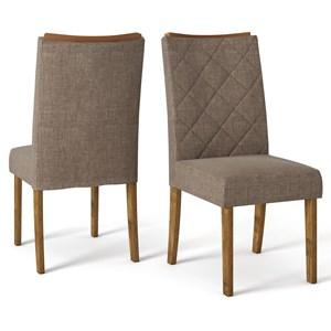 Kit 06 Cadeiras Estofadas Sara Tronco Ripado Linho Marrom DJ Moveis
