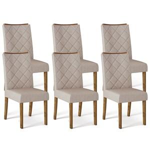 Kit 06 Cadeiras Estofadas Sara Tronco Ripado Linho Urbano DJ Moveis