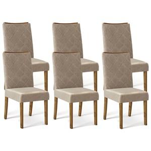 Kit 06 Cadeiras Estofadas Sara Tronco Ripado Veludo Caqui DJ Moveis