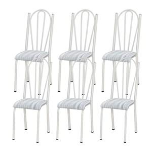Kit 06 Cadeiras Tubular Branca 021 Assento Linho