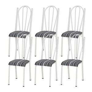 Kit 06 Cadeiras Tubular Branca 021 Assento Preto Listrado