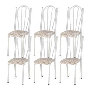 Kit 06 Cadeiras Tubular Branca 021 Assento Rattan