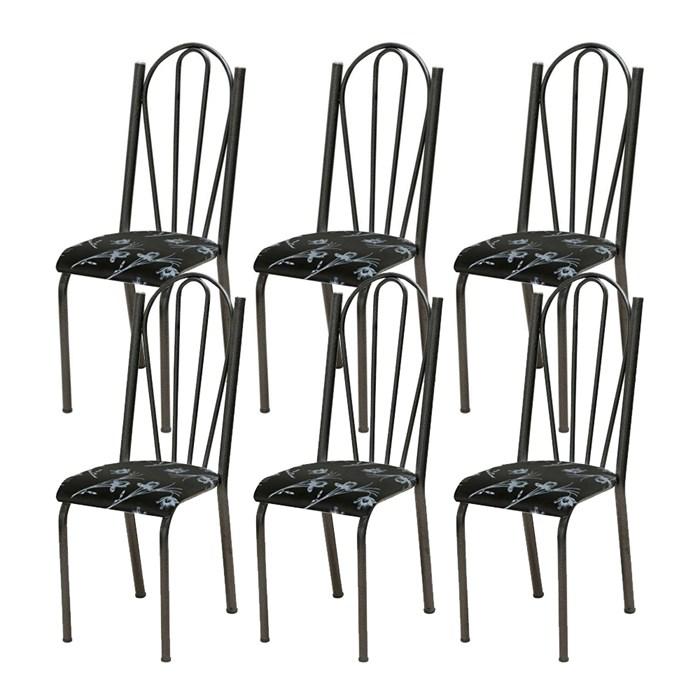 Kit 06 Cadeiras Tubular Cromo Preto 021 Assento Preto Florido