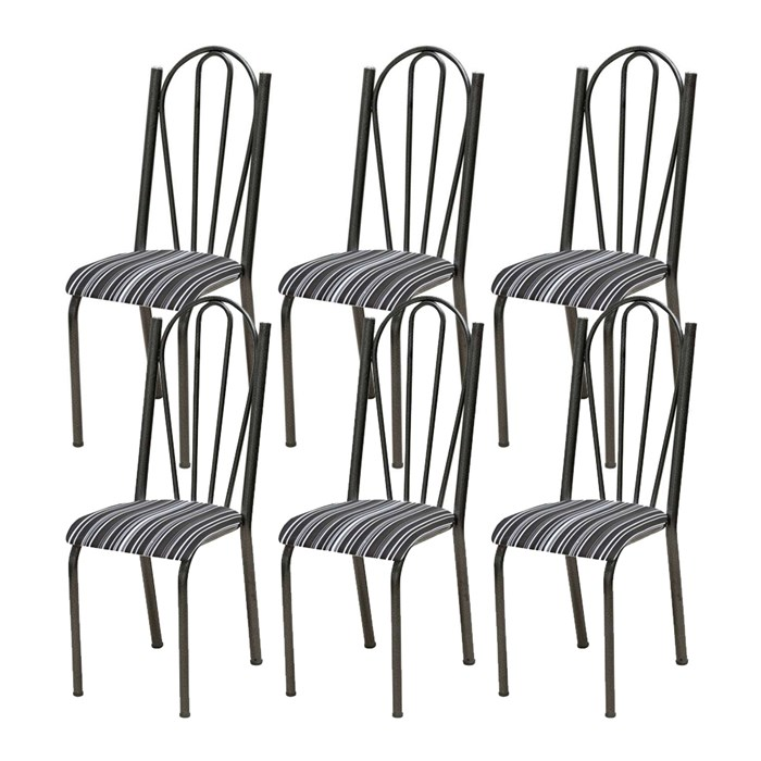 Kit 06 Cadeiras Tubular Cromo Preto 021 Assento Preto Listrado