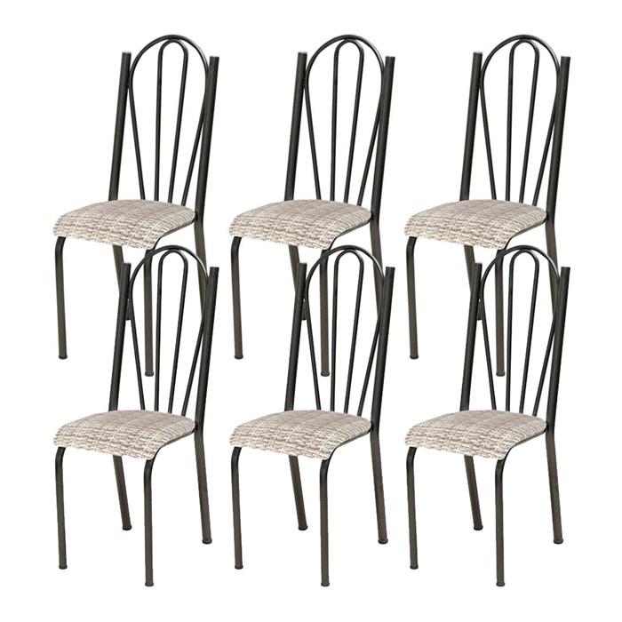 Kit 06 Cadeiras Tubular Cromo Preto 021 Assento Rattan