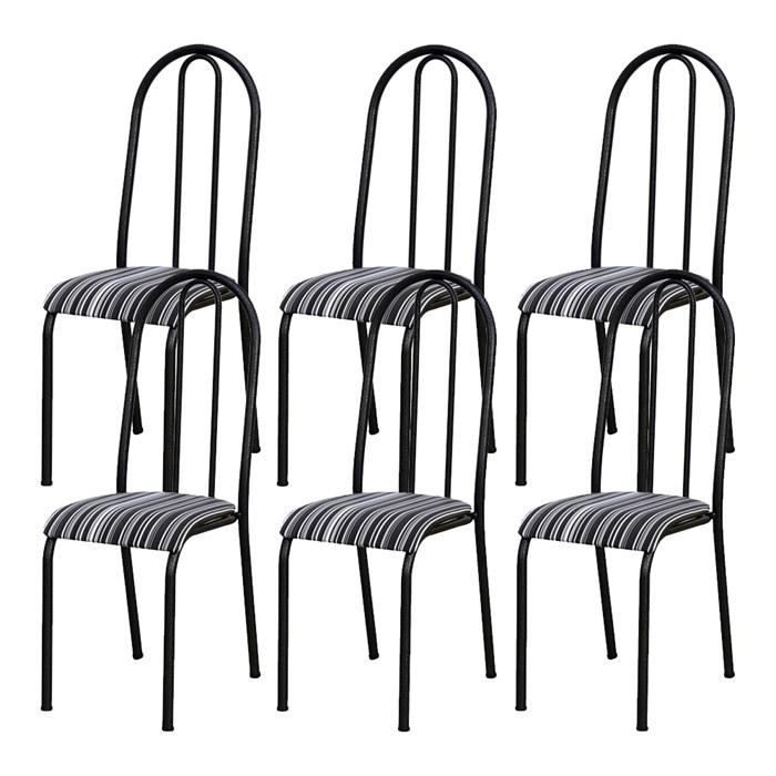 Kit 06 Cadeiras Tubular Cromo Preto 056 Assento Preto Listrado
