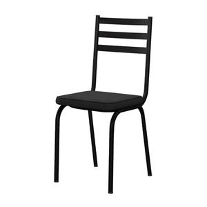 Kit 06 Cadeiras Tubular Preto Fosco 118 Assento Preto
