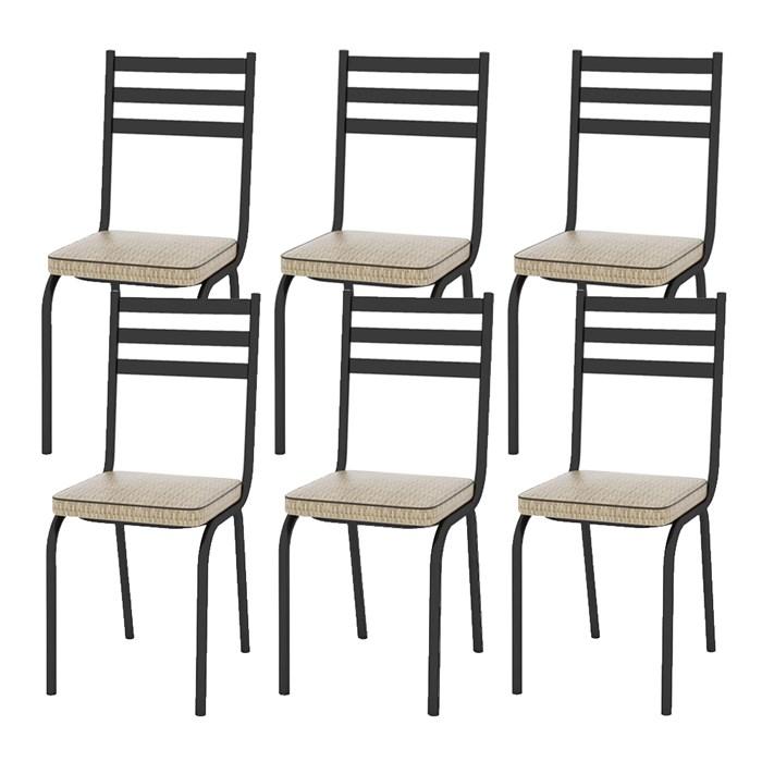 Kit 06 Cadeiras Tubular Preto Fosco 118 Assento Rattan