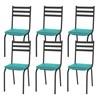 Kit 06 Cadeiras Tubular Preto Fosco 118 Assento Turquesa
