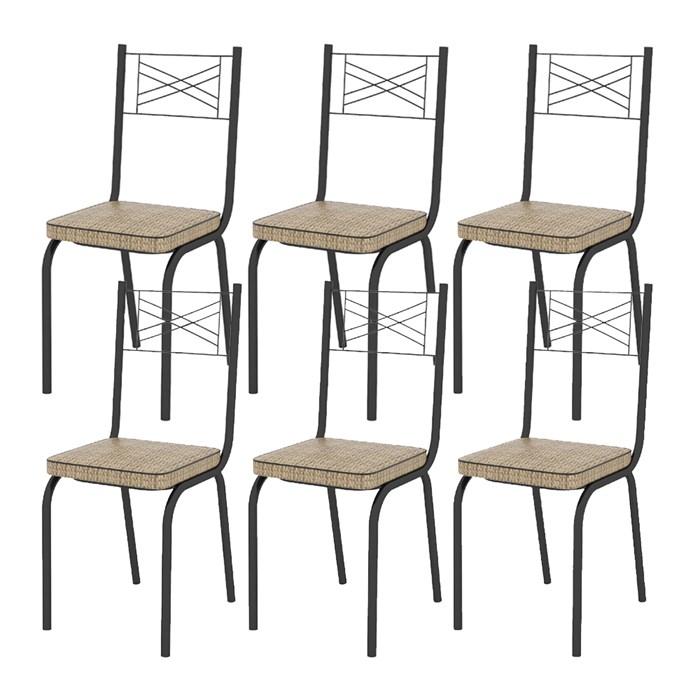 Kit 06 Cadeiras Tubular Preto Fosco 119 Assento Rattan