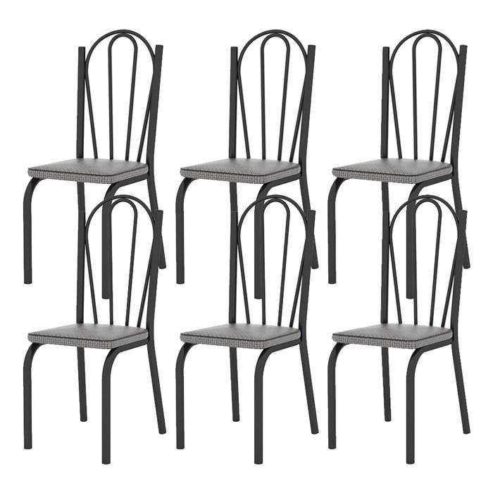 Kit 06 Cadeiras Tubular Preto Fosco 121 Assento Platina