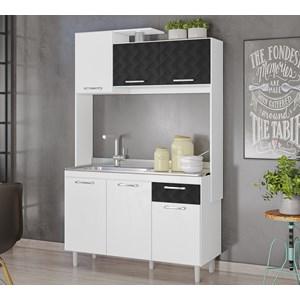 Kit Cozinha 6 Portas Belle Branco Preto 3D Nicioli