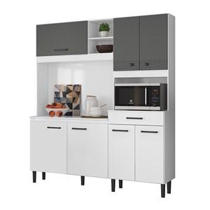 Kit Cozinha 7 Portas Alecrim Branco Cetim Chumbo Nicioli