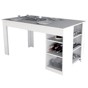 Mesa de Jantar Com Prateleiras Enjoy MES4005 Branco APT Milani Store