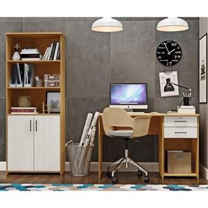 Mesa Escrivaninha 1953 E Estante 1952 Office Argos Carvalho Branco FNT Milani Store