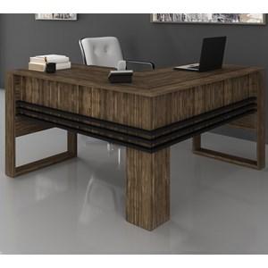 Mesa Escrivaninha Angular Para Escritorio ME4145 Nogal Preto Tecno Mobili