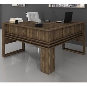 Mesa Escrivaninha Angular Para Escritorio ME4145 Nogal Tecno Mobili