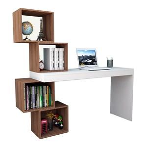 Mesa Escrivaninha Com 04 Nichos ESC3004 Branco Castanho APT Milani Store