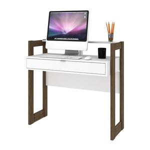 Mesa Escrivaninha Para Escritorio AZ1007 Branco Nogal Tecno Mobili