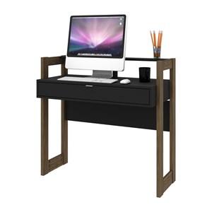 Mesa Escrivaninha Para Escritorio AZ1007 Preto Nogal Tecno Mobili