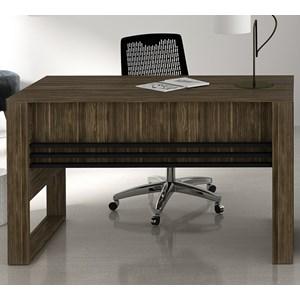 Mesa Escrivaninha Para Escritorio ME4146 Nogal Preto Tecno Mobili