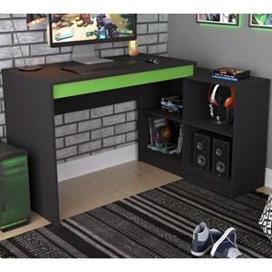 Mesa Para Computador Gamer Com Nichos B24 Preto Verde Nova Mobile