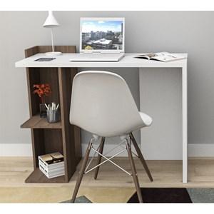 Mesa Para Escritorio Sense ESC4007 Nogueira Branco APT Milani Store