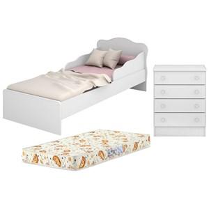 Mini Cama Infantil 849 E Comoda 777 Doce Sonho Branco Com Colchao Qmovi