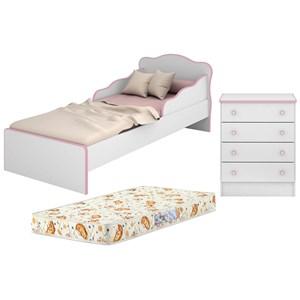 Mini Cama Infantil 849 E Comoda 777 Doce Sonho Branco Rosa Com Colchao Qmovi