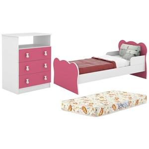 Mini Cama MC070 E Comoda CM120 Infantil Branco Rosa Com Colchao DJD Moveis