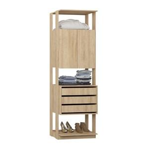 Modulo Para Closet 02 Portas Clothes 1006 Carvalho Mel Be Mobiliario
