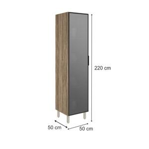 Paneleiro 1 Porta De Vidro 100% MDF Kali Premium 3108.4 Carvalho Rustico Nicioli