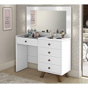 Penteadeira Escrivaninha Luna Branco Com Espelho LPA Milani Store