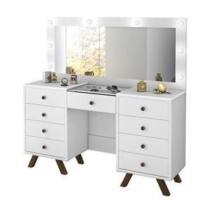 Penteadeira Escrivaninha Mila Branco Com Espelho LPA Milani Store