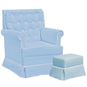 Poltrona De Amamentaçao Balanço Giulia Com Puff Corano Azul Branco FT Milani Store
