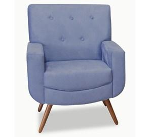 Poltrona Decorativa Angelita Em Veludo Naturale Azul 1012 Pés Palito/Castanho MKonfort