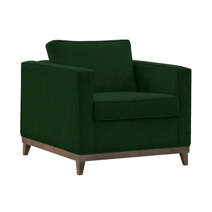 Poltrona Decorativa Aspen 01 Lugar Suede Verde D'Monegatto