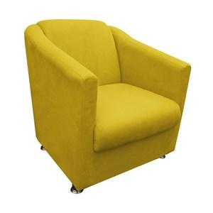 Poltrona Decorativa Ilda 01 Lugar Suede Amarelo Mostarda Atual Estofados