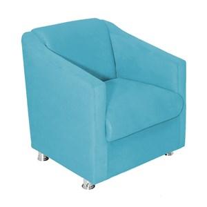 Poltrona Decorativa Ilda 01 Lugar Suede Azul Tiffany Atual Estofados
