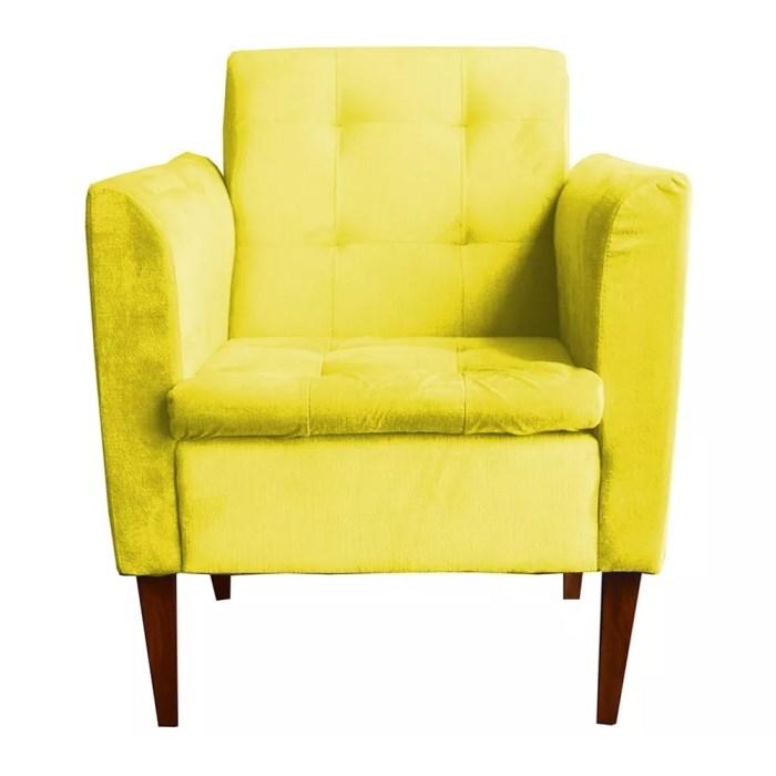 3eb4802b4d Poltrona Decorativa Livia Suede Texturado Amarelo   Milani Store