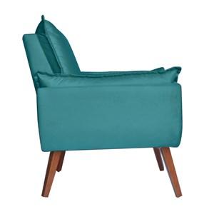 Poltrona Decorativa Opala Suede Azul Turquesa 1003 Pés Trapezio/Castanho KS Decor