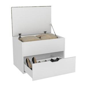 Puff Bau Organizador Multiuso Com Gaveta PU2051 Branco Tec408 Tecno Mobili