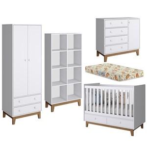 Quarto Completo Infantil Retro Com Colchao BY110/130/140/160 Branco Completa Móveis