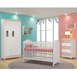 Quarto Completo Infantil Vitoria 9800 Branco Rose Peternella