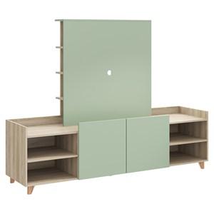 Rack 02 Portas Com Painel Aurora 9001 Aveiro Verde Be Mobiliario