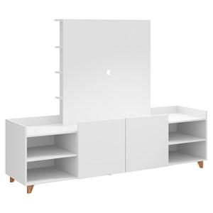 Rack 02 Portas Com Painel Aurora 9001 Branco Be Mobiliario