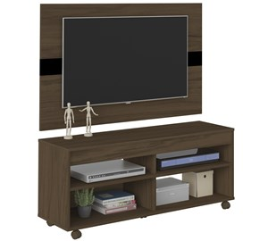 Rack Com Painel Para TV 42 Polegadas Cross Amendoa Preto Artely