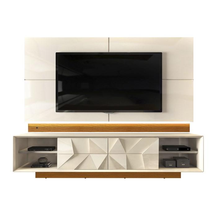 Rack Com Painel Para TV 75 Polegadas Colone 3D Creme Mel DJ Moveis