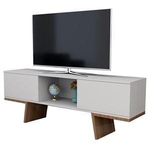 Rack Para Tv Com 02 Portas Nobu RAC3502 Branco Castanho APT Milani Store